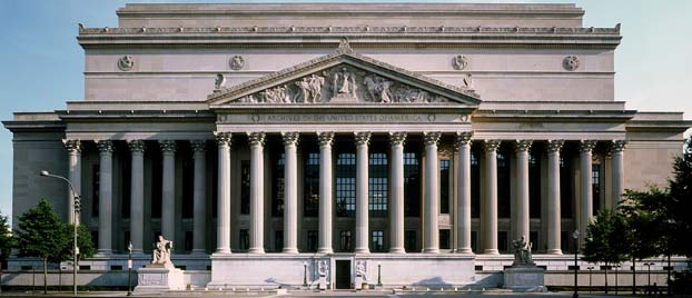 Outside view of the National Archives