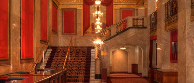 Inside view of the event space at Warner Theatre
