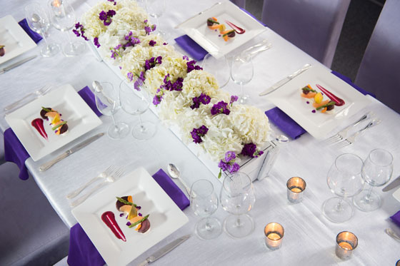 Purple and White Table Setting Square Plates