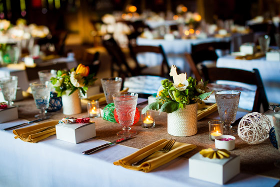 Burlap and colorful Table Setting