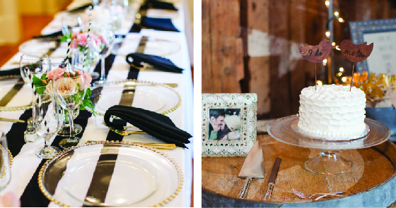 table setting and wedding cake