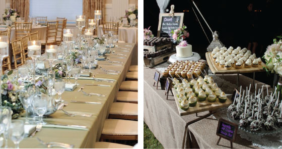 Table Settings and Dessert and Sweets Table
